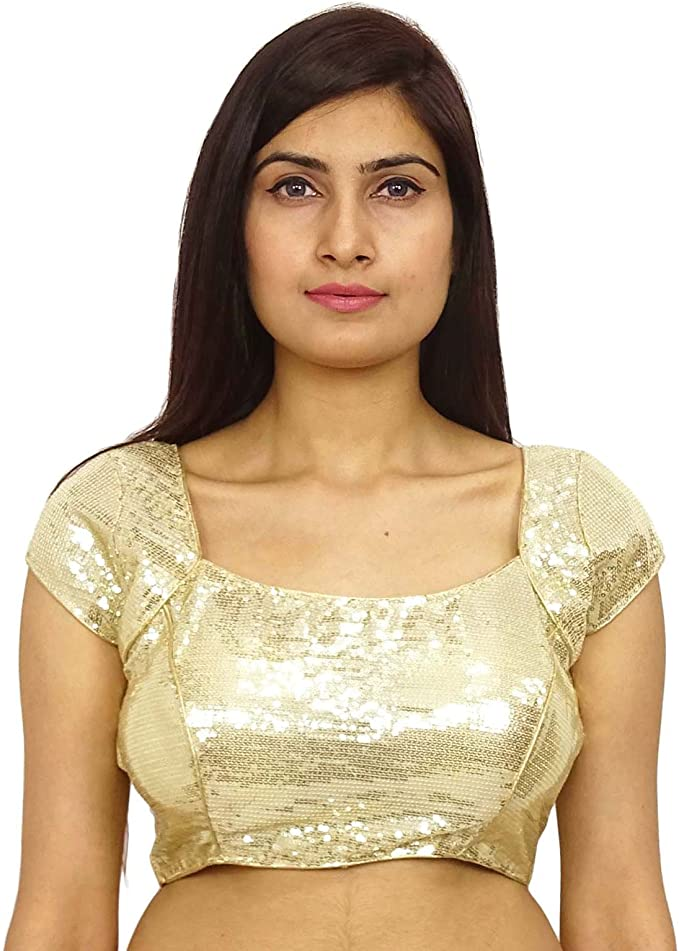 Readymade Valentine/'s Special Golden Floral Embroidered Women/'s Art Silk Saree Blouse Sari Indian Choli Shirt Short sleeve Round Neck