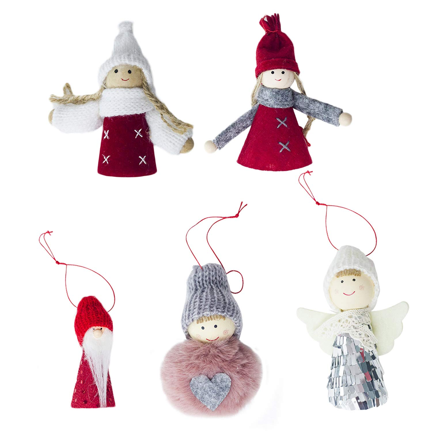 5pcs Assorted Styles Small Cute Lovely Mini Christmas Doll Hanging Ornaments Home Xmas Christmas Tree Pendant Decorations Migavan