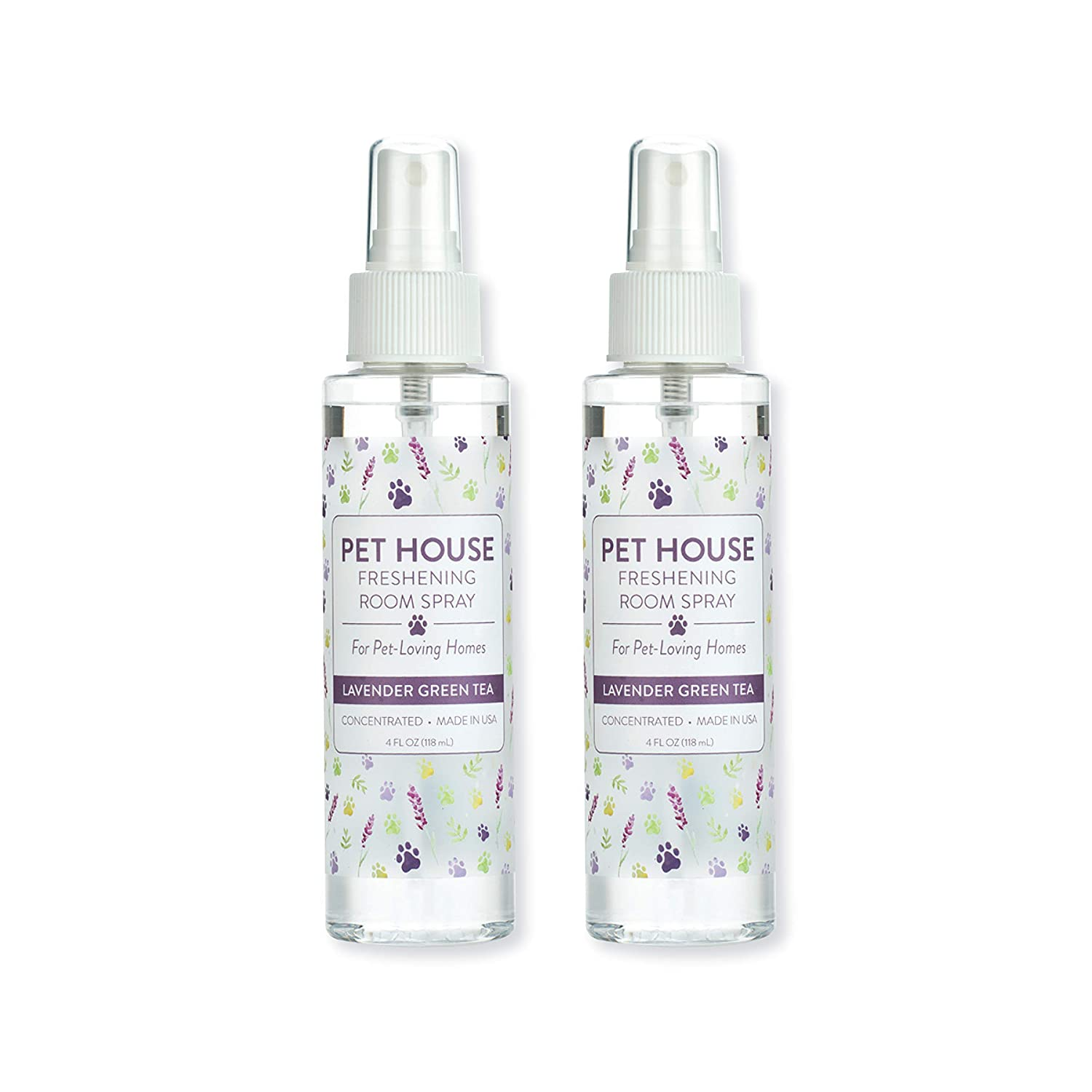 Pet House Pet Friendly Freshening Room Spray in 6 Fragrances - Non Toxic - Concentrated Air Freshening Spray Neutralizes Pet Odor – Effective, Fast-Acting – 4 oz - Pack of 2 (Lavender Green Tea)