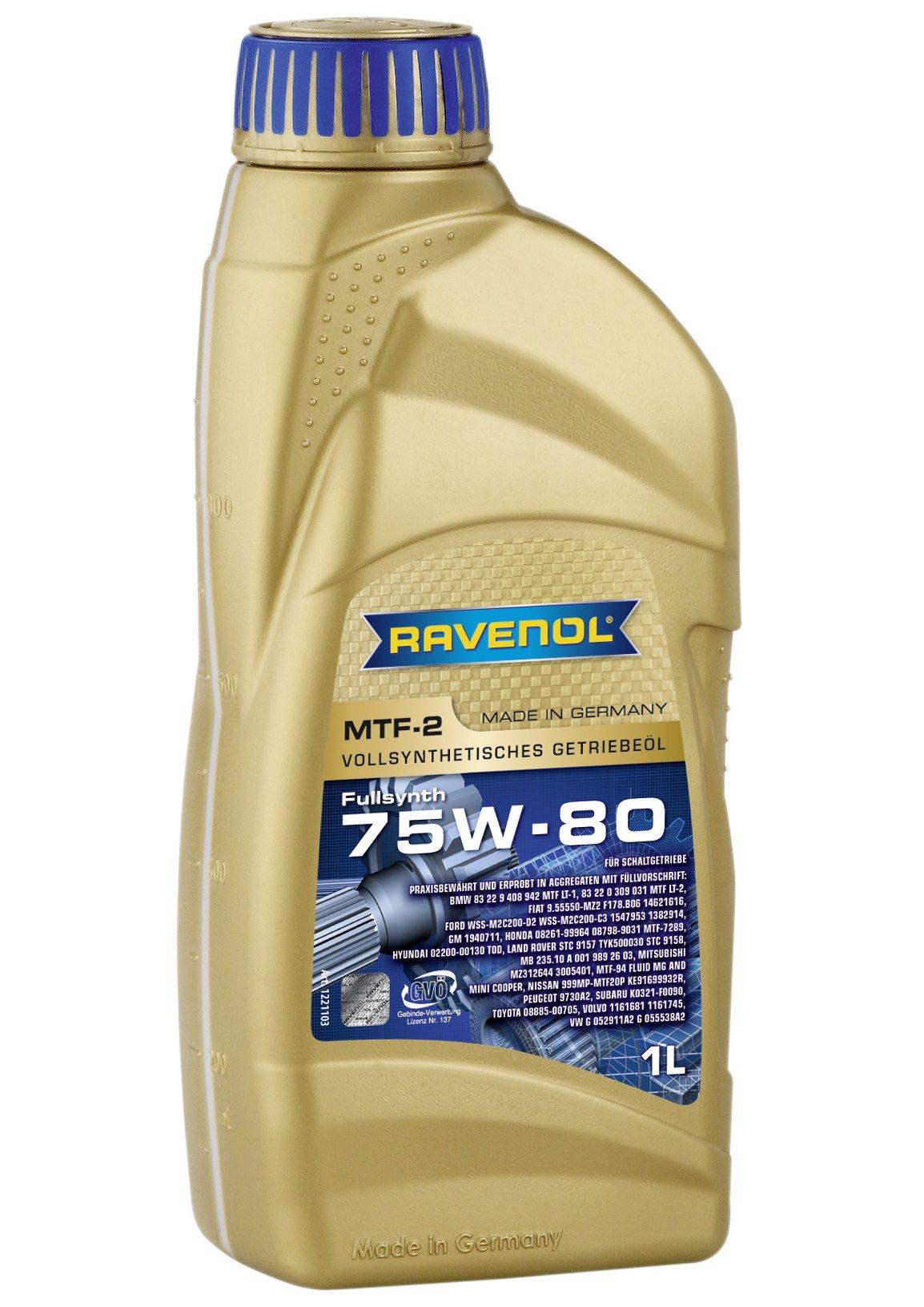 Ravenol J1C1002 SAE 75W-80 Manual Transmission Fluid - MTF-2 Full Synthetic API GL-4 (1 Liter)