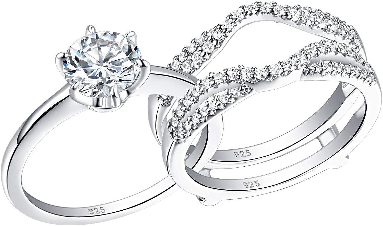 Genuine Diamond Trio Set Engagement Ring Wedding Band White Gold Finish 0.45 Ct