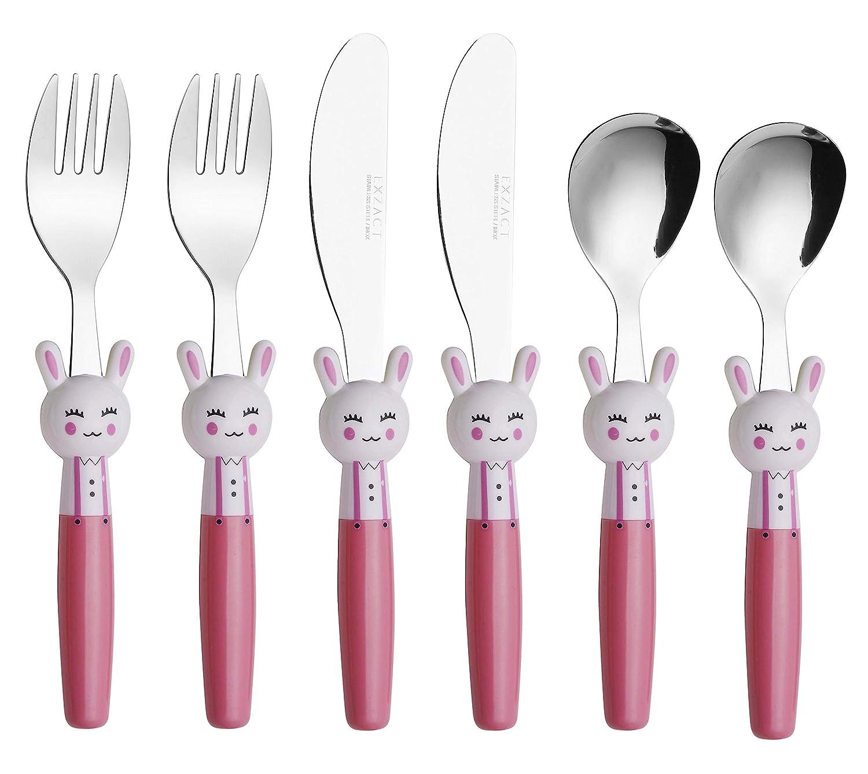 2 x Couteaux Exzact Couverts Enfant en Inox 6 Pi/èces: 2 x Fourchettes 2 x Cuill/ères Lapins x 6