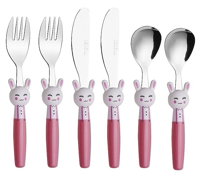 EXZACT Cubertería infantil 3 pieza para niños de Acero Inoxidable - 1 x cena cuchillo, 1 x cena tenedor, 1 x cena cuchara (Conejo x 3)