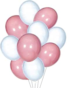 Balloons (Set of 10) - Pink and White