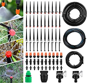 Garden Irrigation System Drip Irrigation Kit with Adjustable Nozzles Drippers Distribution Tubing Hose Saving Water Automatic Irrigation Set for Garden, Greenhouse, Patio, Lawn