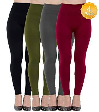 9ec64a73194b7 Diravo 4 Pack Women's Fleece Lined Leggings Soft High Waist Slimming Winter  Warm Leggings