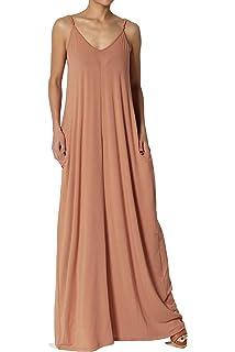 1fbb820351 TheMogan Casual Beach V-Neck Draped Soft Jersey Cami Long Maxi Dress with  Pocket