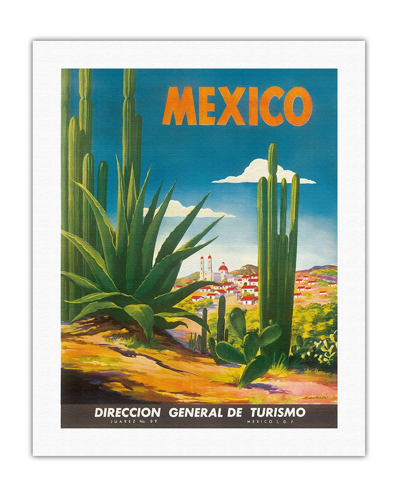 Fine Art Print - Vintage World Travel Poster by Magall/ón c.1948 Ciudad Juarez Direccion General de Turismo Chihuahua Mexico 11in x 14in Department of Tourism