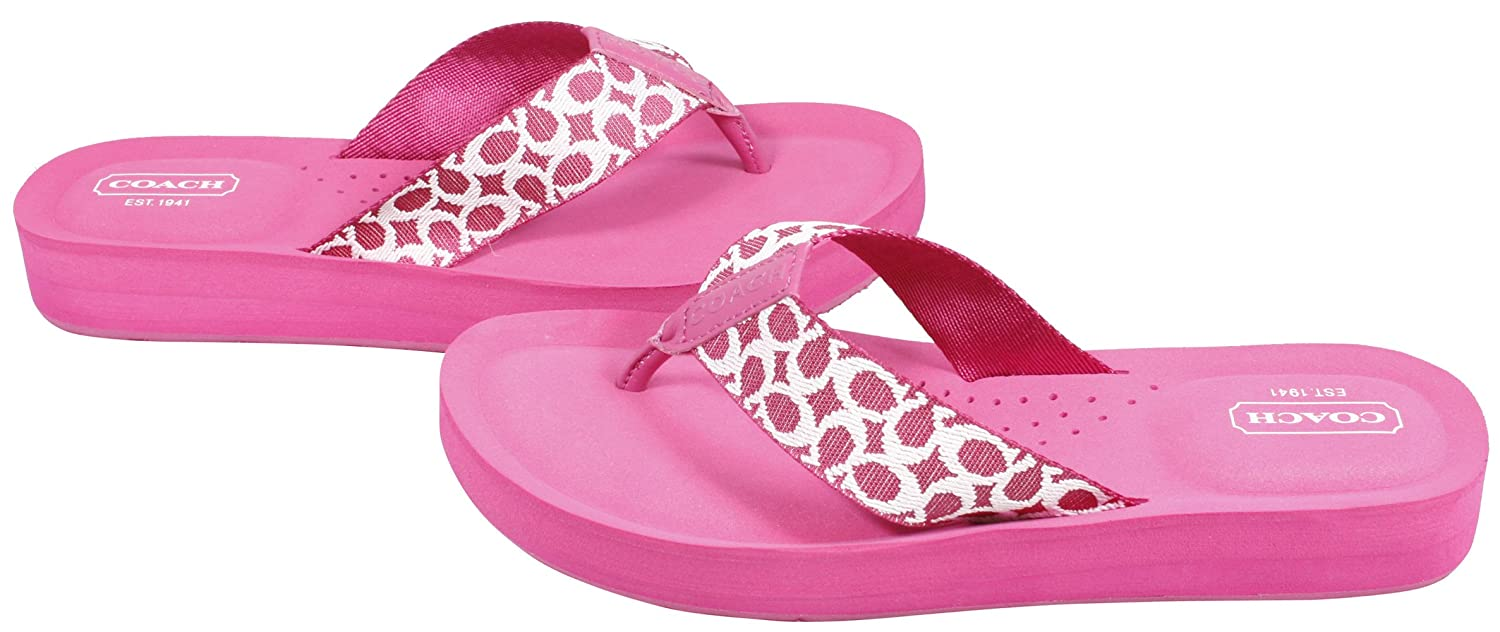 545f765d4 Coach Jessalyn Webbing Flip Flops Logo Sandals Fuchsia Pink  Amazon.co.uk   Shoes   Bags