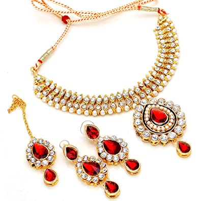74dac7462a Buy Jewar Mandi Kundan Gold Plated Puwai Handmade Bridal Necklace Set &  Maangtika For Women Online at Low Prices in India | Amazon Jewellery Store  - Amazon. ...