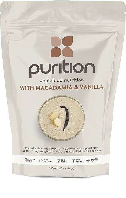 Purition Batido de proteínas de Nueces de Macadamia & Vainilla (500g). Batido para el desayuno