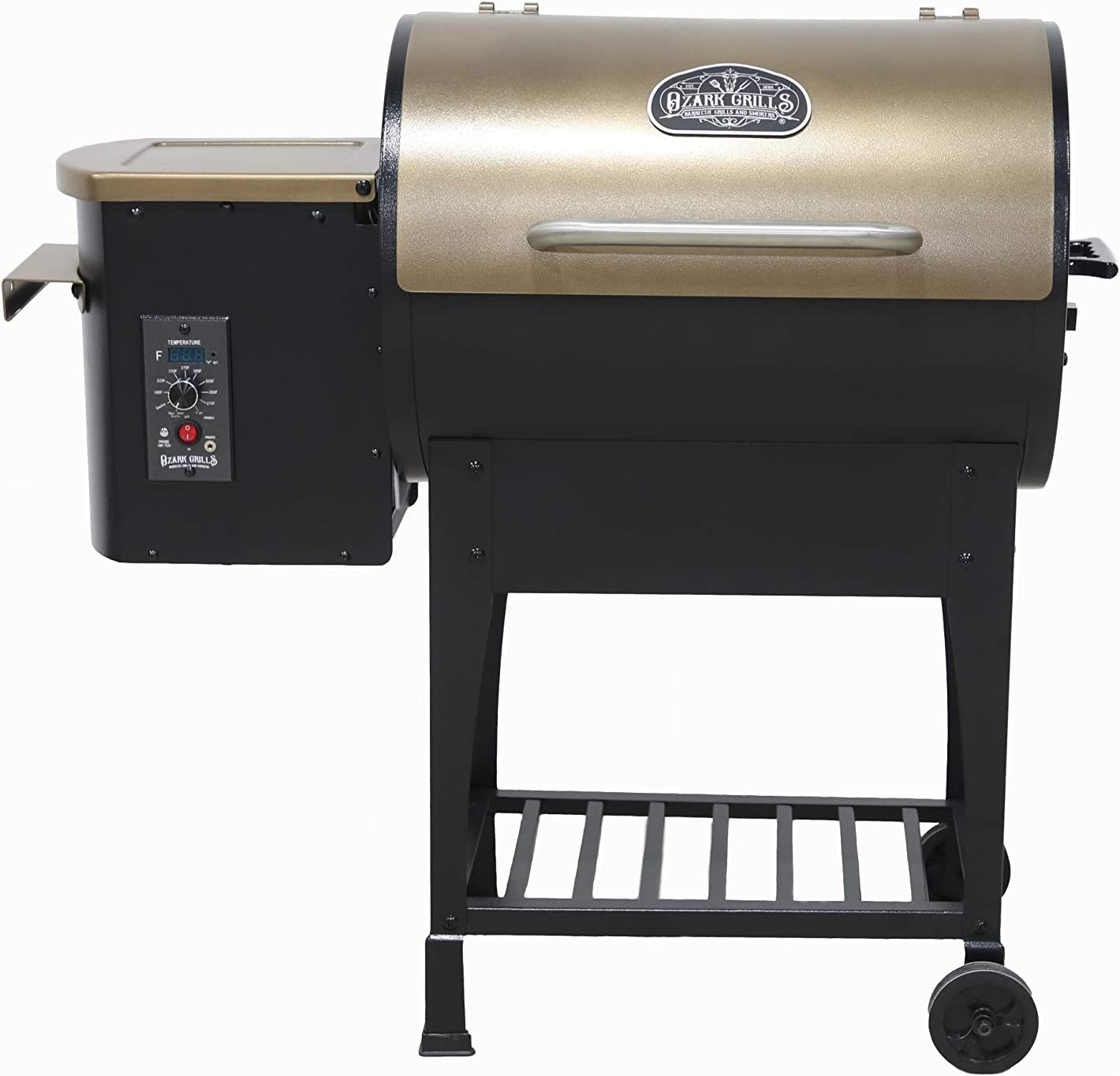 Ozark Grills – The Razorback Wood Pellet Grill and Smoker with Temperature Probe, 11 Pound Hopper, 352 Square Inch Cooking Area