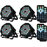 LUNSY DJ Par Lights, 36LEDs Stage Lighting Controlled by Remoter and DMX Control - 4 Pack