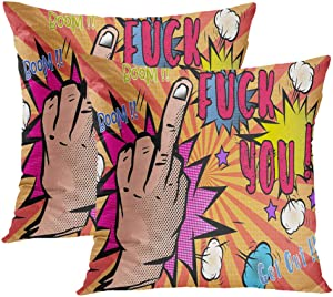 Moladika Set of 2 Throw Pillow Covers Square 18 X 18 Inch Middle Finger Fuck You Signhand Gesturefuck Cushion Home Decor Sofa Bedroom Office Polyester Pillowcase