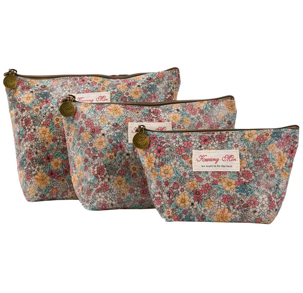 HOYOFO Women's Cosmetic Bags Travel Makeup Storage Pouch Cosmetic and Toiletries Organizer Bag Pack of 3, Beige Flowers