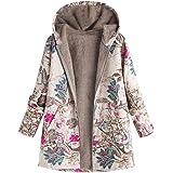 Sunward Women Winter Warm Outwear Floral Print Hooded Pockets Vintage Oversize Coats