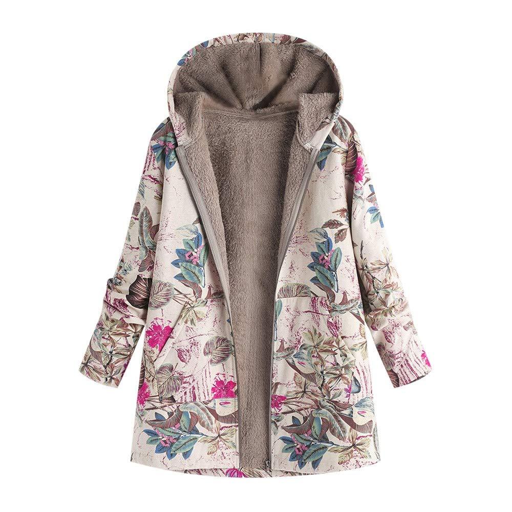 Pandaie Women Winter Warm Jacket Hooded Zip Plush Vintage Fleece Jacket Flowers Print Plus Size Winter Coats Hot Pink by Pandaie