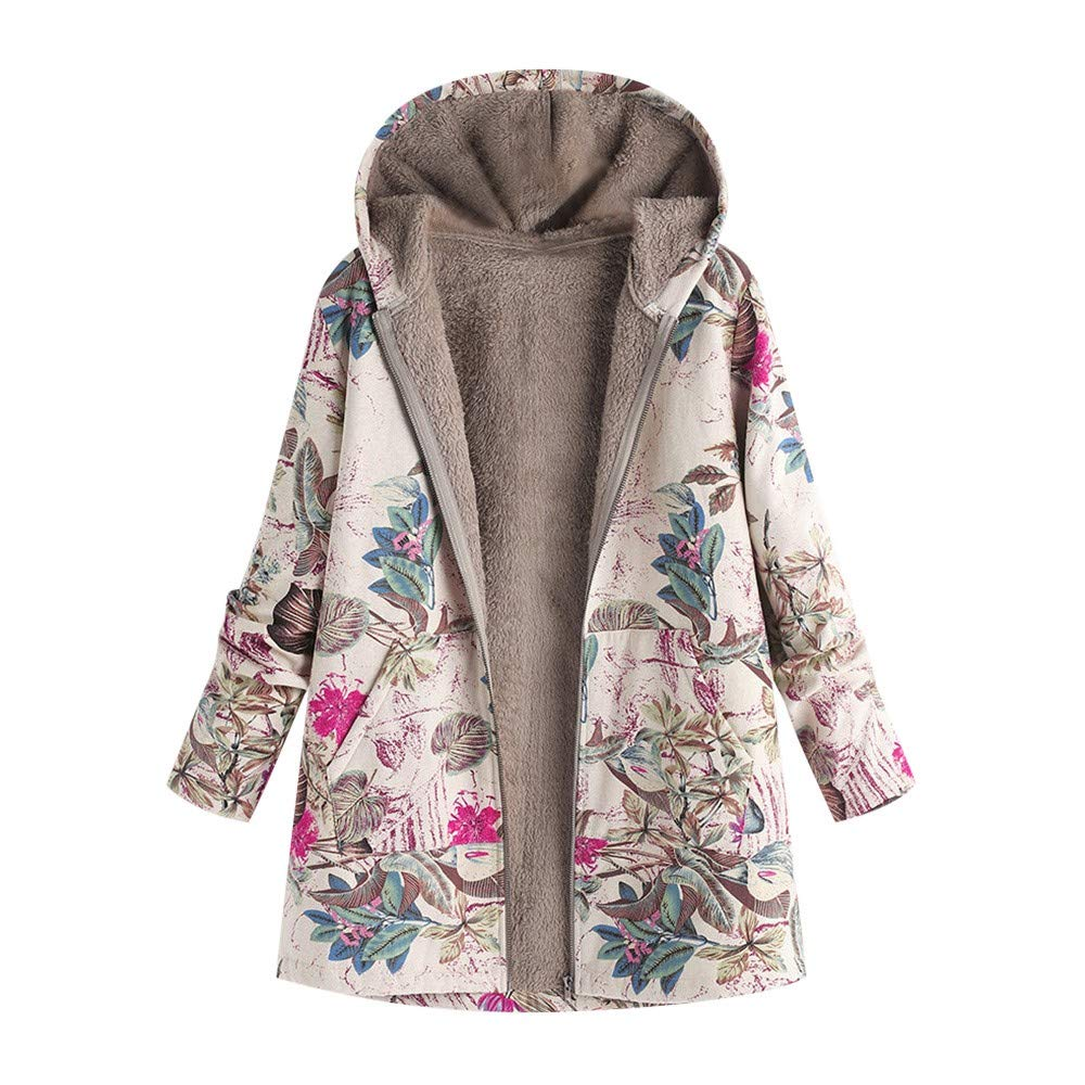 Lmx+3f Womens Plus Size Winter Warm Outwear Floral Print Coats Hooded Pockets Vintage Oversize Soft Comfy Slim Coats Hot Pink