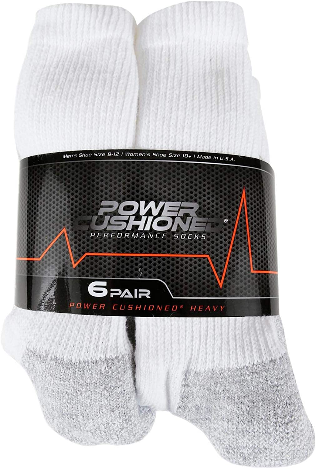 Power Cushioned Performance Crew Large 6 Pair Pack (White), LARGE (Men's shoe size 9-12) at  Men's Clothing store