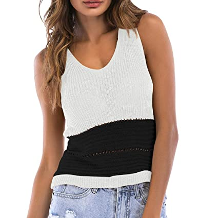 6fddcba38ae7e1 Image Unavailable. Image not available for. Color  Women Crochet Flower  Hollow Match Colors V-Neck Knit Tank Top ...