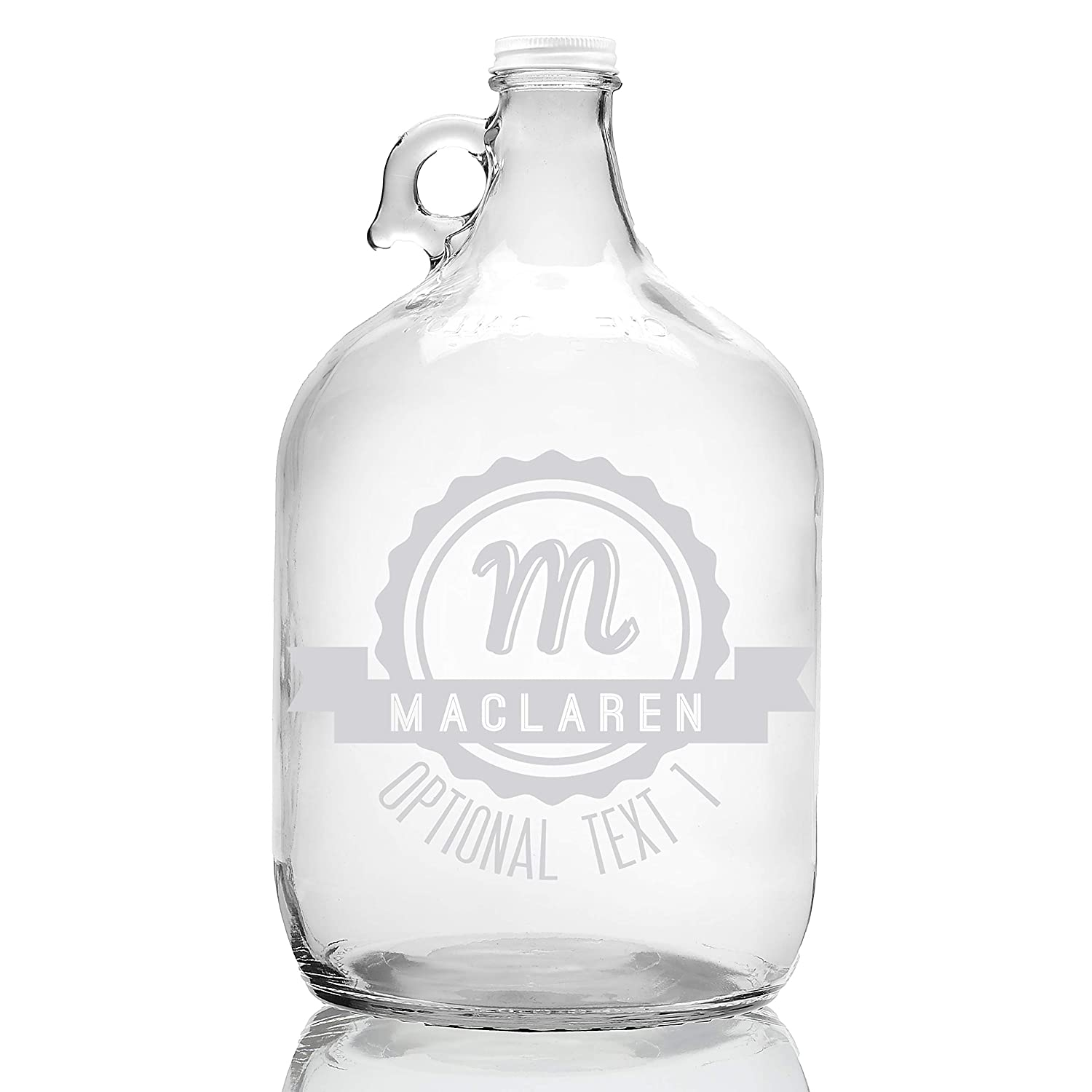 Personalized Etched Monogram 128oz Clear Glass Growler (Design 1)