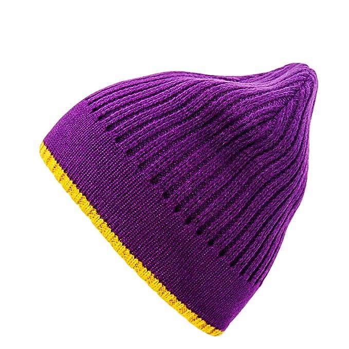 Feiboy Grueso Lavable Hombres Gorros De Punto Caliente Invierno Hat  Plegable Suave Crochet de Hats Clásico Cálido Gorra Cómodo Casual Sombrero  Tejido ... be070a2b344
