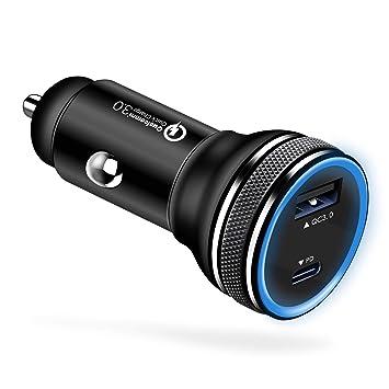 Fasgear Cargador de Coche USB-C de 36 W, Entrega de Potencia de 18 W y Carga rápida 3.0 para Galaxy S9, Pixel 2 XL, Mate 10 y más