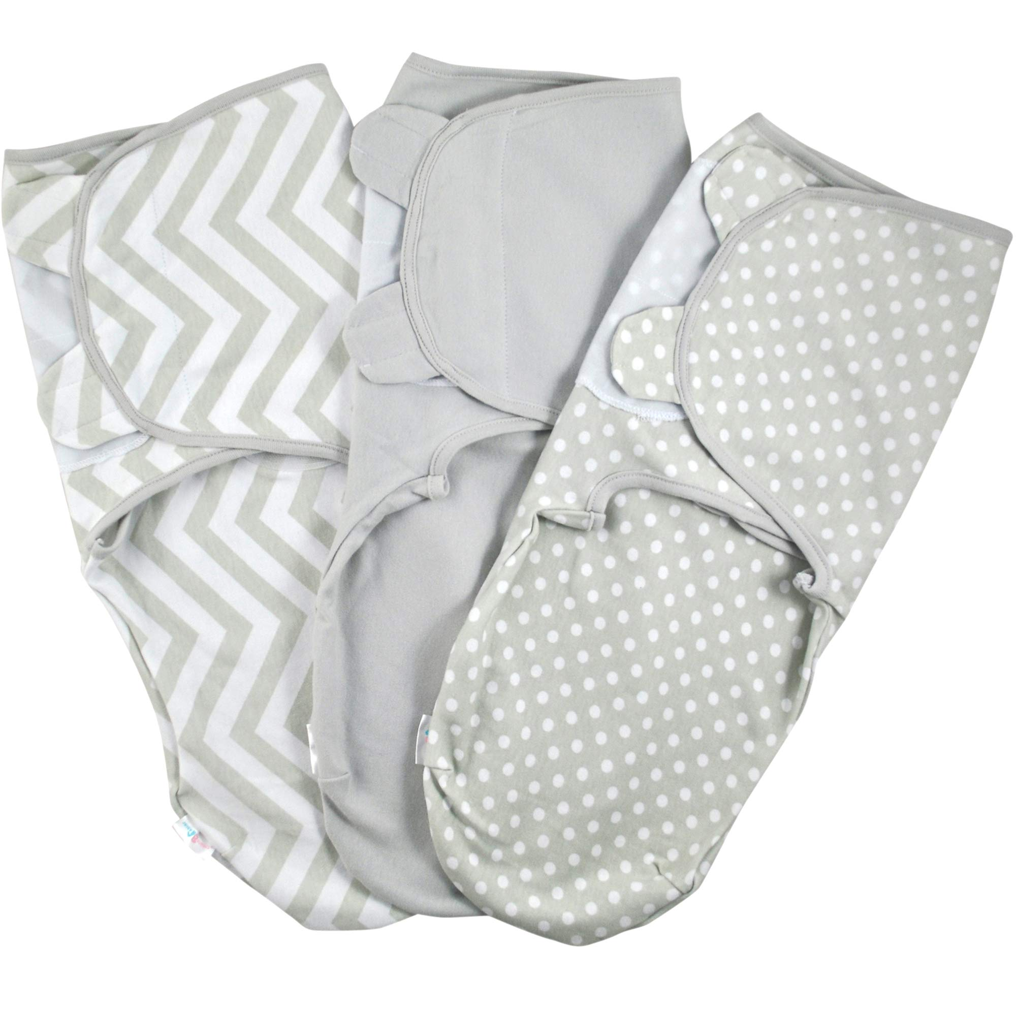 Baby Swaddle Wrap - Pack of 3 Swaddle Blankets - 100% Organic Cotton - Grey - 0-3 Months