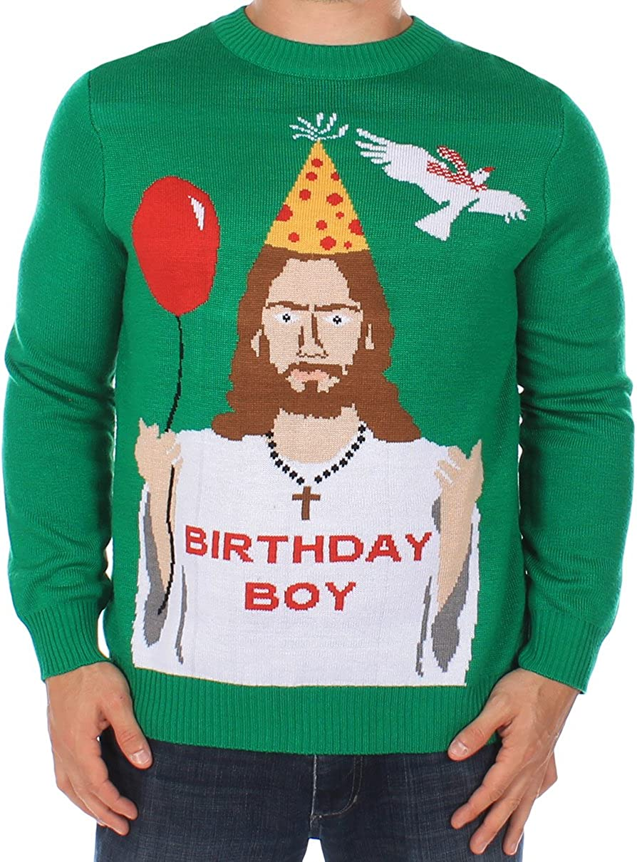 Tipsy Elves Men's Ugly Christmas Sweater Happy Birthday Jesus Sweater Green