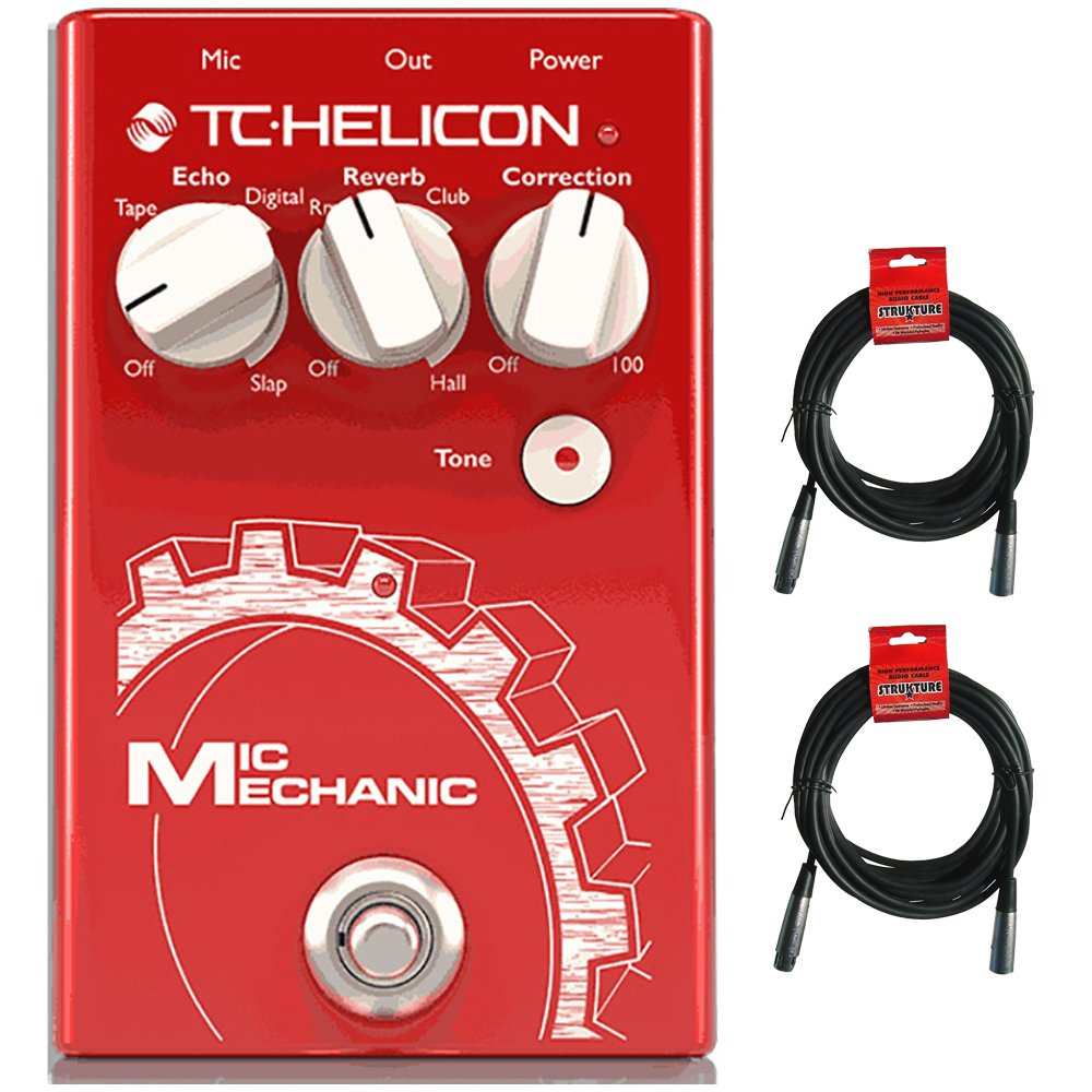 TC Helicon Mic Mechanic 2 Vocal Effects Pedal with (2) 20' XLR Cables