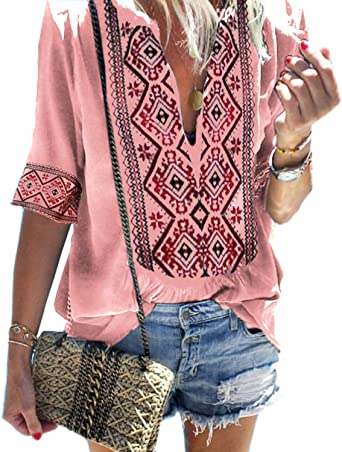Womens Boho V-Neck Print T-Shirt Ladies Summer Beach Loose Tops Blouse Plus Size