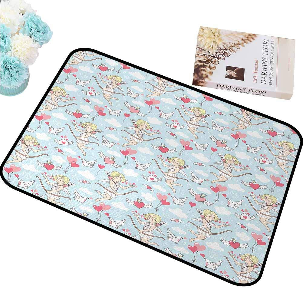 FOCLKEDS Absorbing dust Door mat Angel,Cupid Girls Winged Hearts Flying in The Sky Doves Clouds Happiness,Blush Coral Baby Blue White Hard and wear Resistant W24 xL35