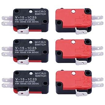 Amazon.com: Twidec / 6 piezas 125 V/250 V 16 A SPDT botón de ...