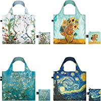 LOQI A72390c Starry Night and Almond Blossoms Collection Pouch Reusable Bags, Set of 4, Decor and Sunflowers