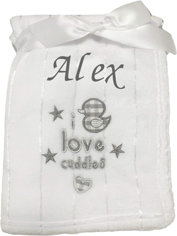 Baby Boy Girl Personalised Blanket Embroidered Name Various Designs White Grey Cream Cream Apple Blanket