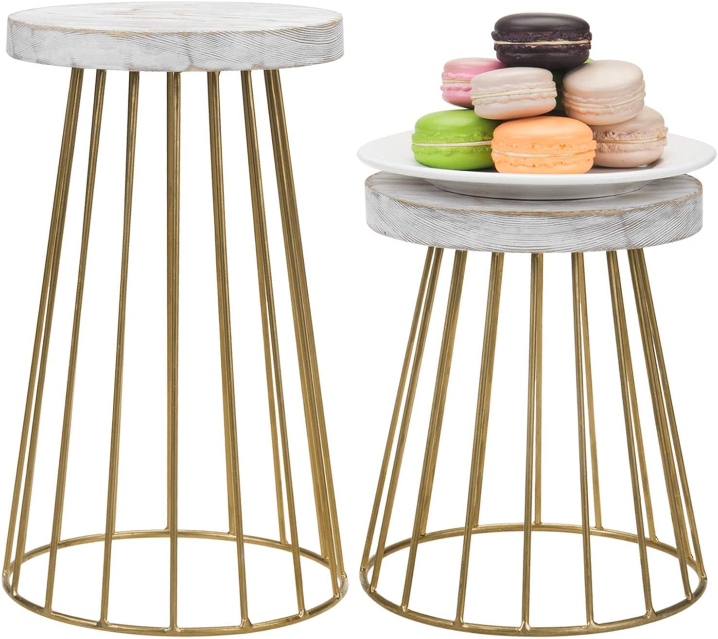 MyGift Vintage Brass Tone Metal & Shabby Whitewashed Wood Pedestal Display Riser Stands, Set of 2