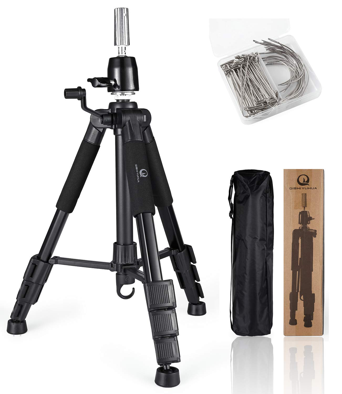 Wig Stand Tripod with Non-Slip Base Adjustable Mannequin Head Stand with Hook Heavy Duty Manikin Head Tripod by QISHI YUHUA