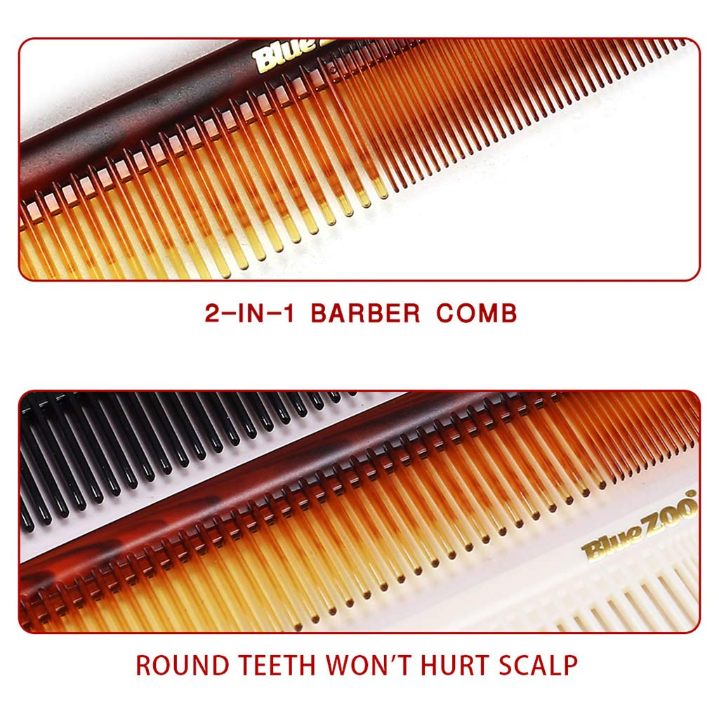 Kimnny Hair Comb 2 in 1 Men Hair Comb Wide Coarse Fine Toothed Combination Portable Vintage Oil Back Aircrafts Head Hairdressing Styling Tool Brown