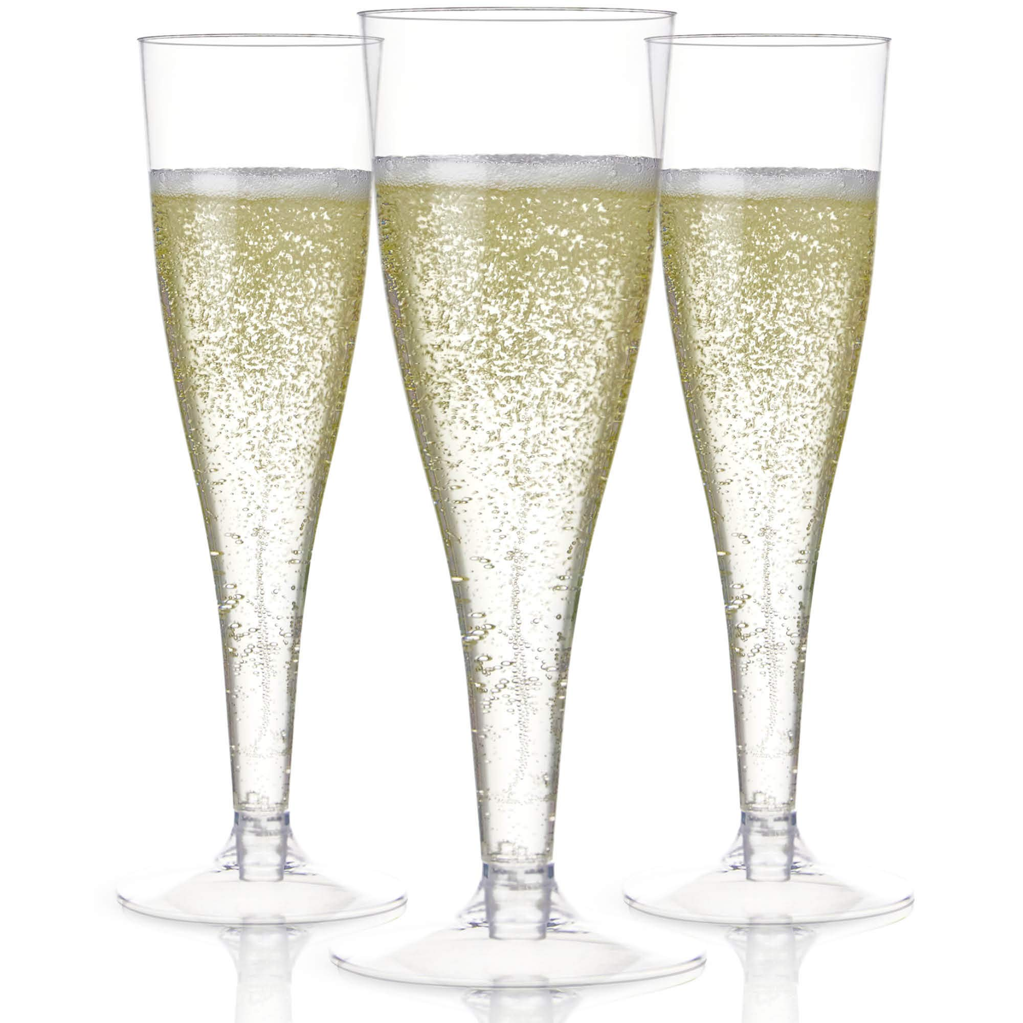 100 Plastic Champagne Flutes Disposable | Clear Plastic Champagne Glasses for Parties | Clear Plastic Cups | Plastic Toasting Glasses | Mimosa Glasses | Wedding Party Bulk Pack by Prestee
