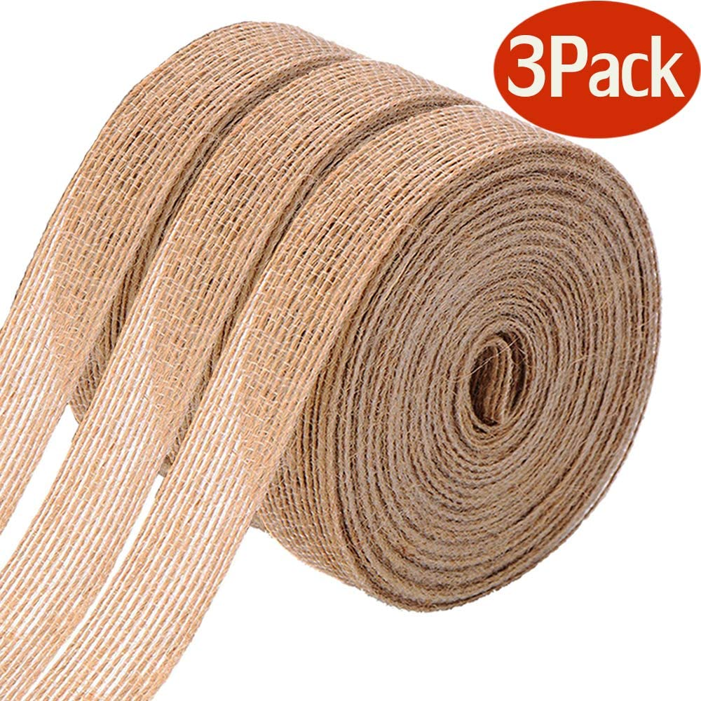 FOLAI 3 Rolls of Natural Burlap Fabric With Beautiful Burlap Ribbon Wedding Event Party And Home Decoration Long 10M Wide 2cm Each Roll