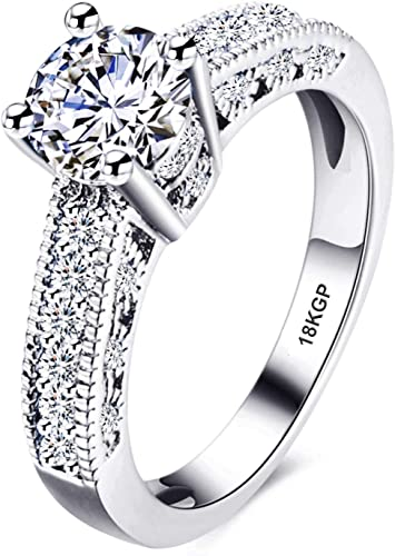 Size 7 to 14 TVS-JEWELS White Gold Plated Mens Band Engagement Ring Round Cut White Cubic Zirconia