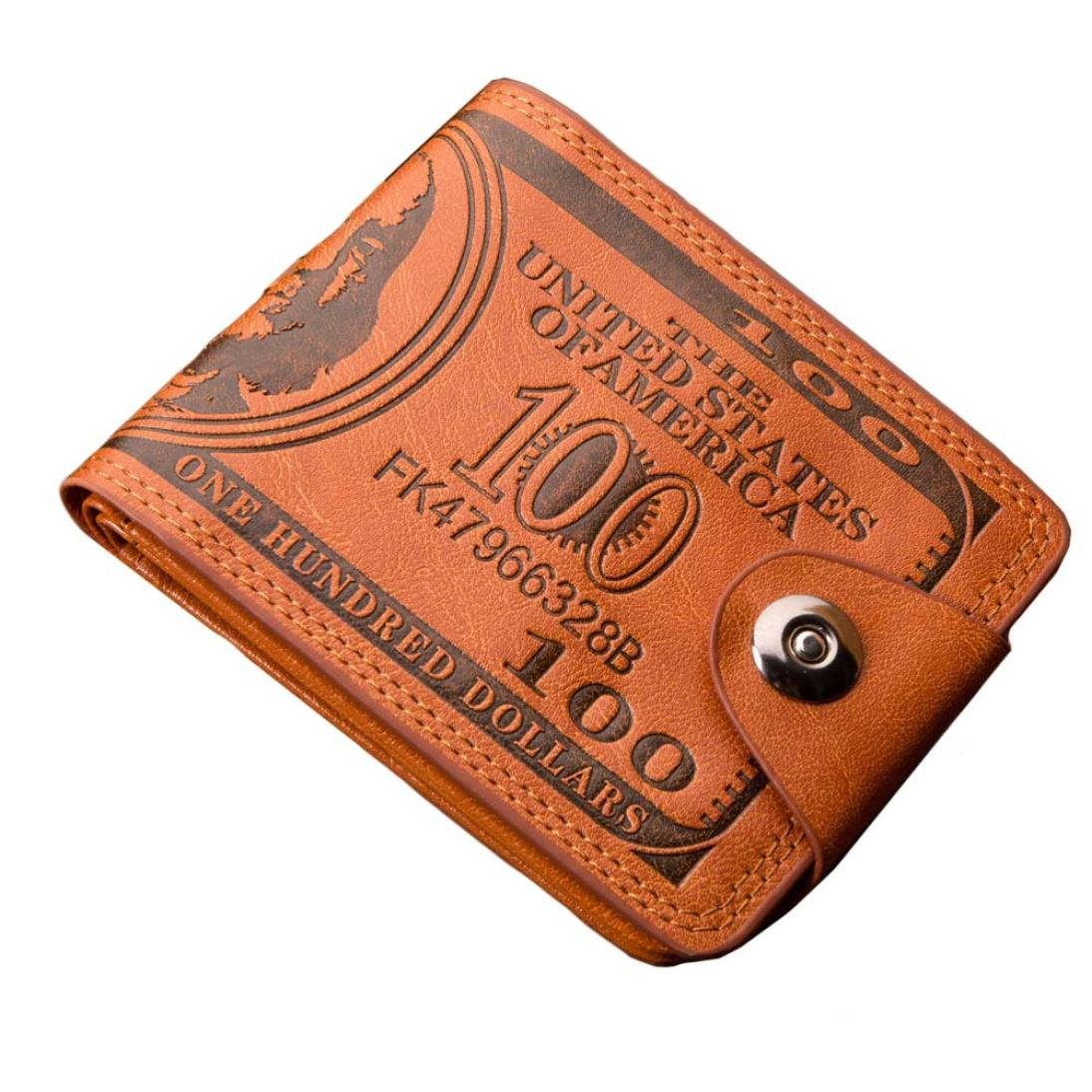 Outsta Men Dollar's Print Bifold Business Casual Leather Wallet Buckle Pockets for ID Card Credit Card (Brown, 117.51cm)