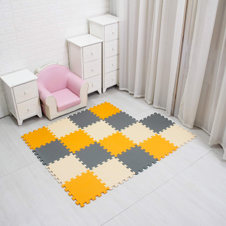 MQIAOHAM Children Puzzle mat Play mat Squares Play mat Tiles Baby mats for Floor Puzzle mat Soft Play mats Girl playmat Carpet Interlocking Foam Floor mats for Baby Orange Beige Grey 102110112
