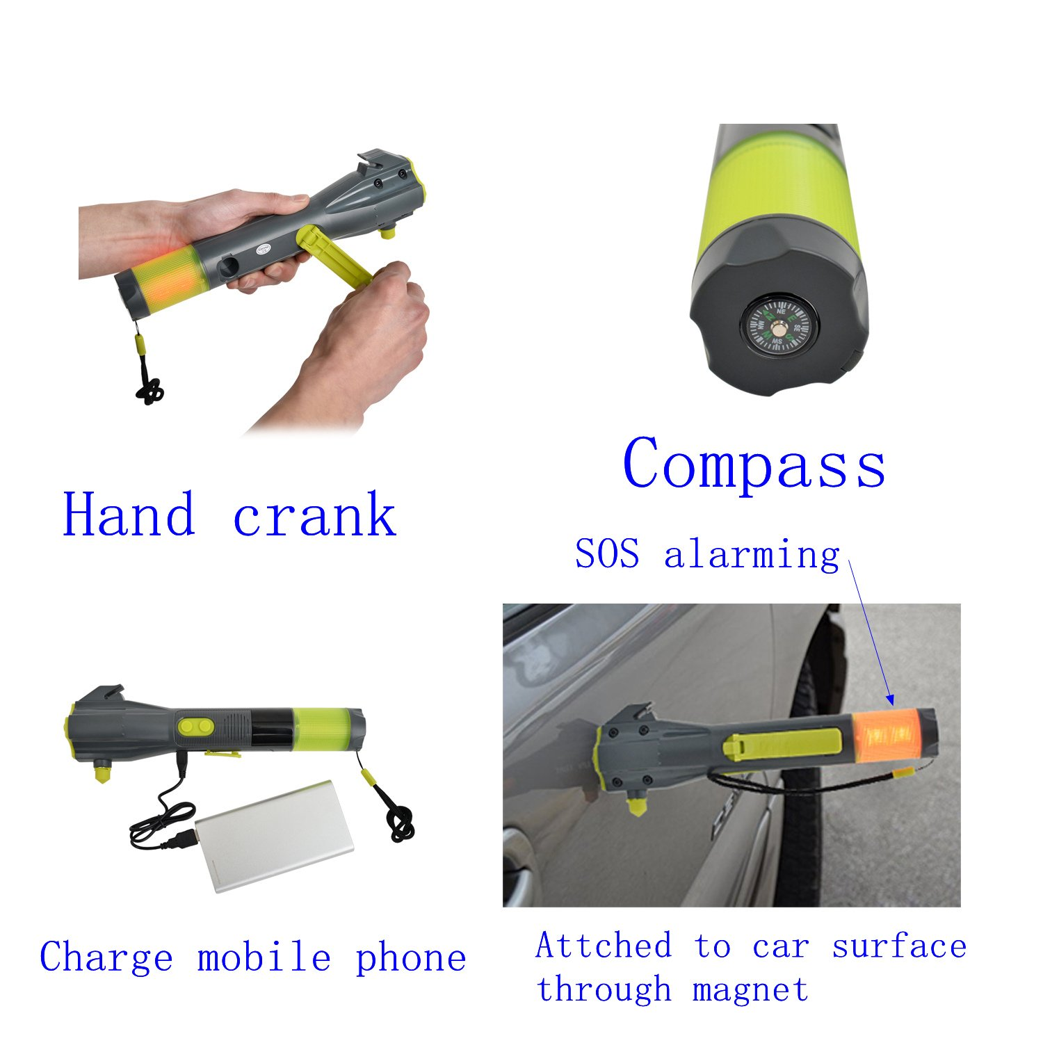 Emergency Multi-functional Flashlight Car Emergency Hammer Compass Magnet Safety Flashlight for Travel Camping Hiking