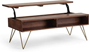 SIMPLIHOME Hunter SOLID MANGO WOOD and Metal 48 inch Wide Rectangle Industrial Contemporary Lift Top Coffee Table in Umber Brown with Storage, 2 Shelves, for the Living Room, Family Room