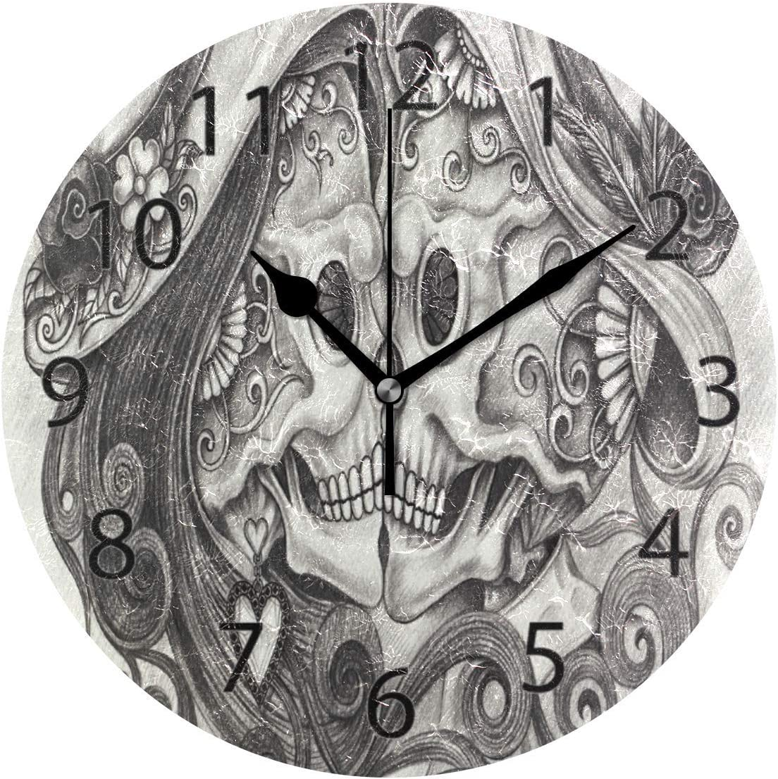 Promini Decorative Home Office Silent Non-Ticking Wooden Wall Clock 15 Inch Round Wall Clock for Living Room Office (Skull Couple Kiss Day of Dead)