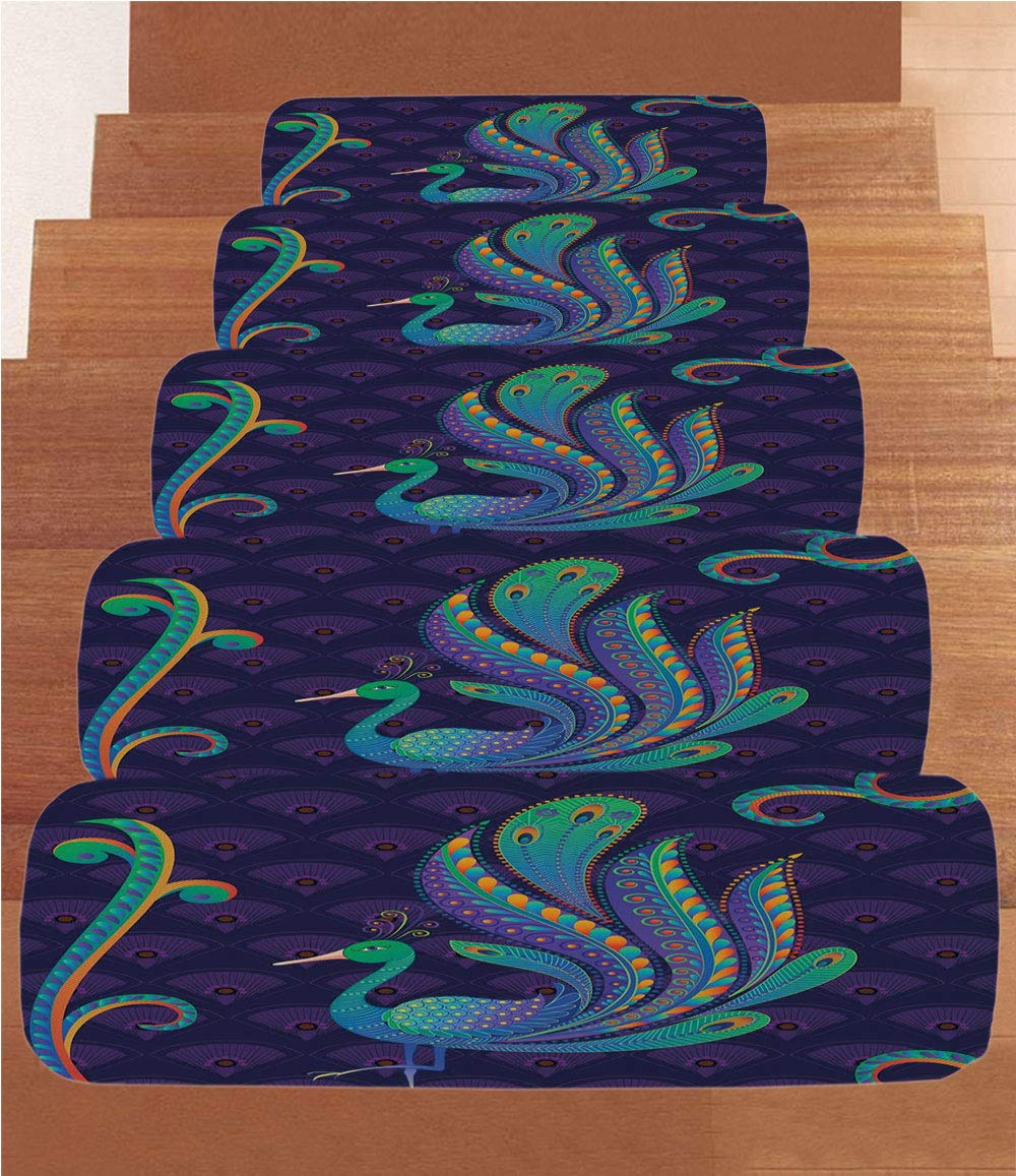 iPrint Non-Slip Carpets Stair Treads,Ethnic,Peacock Bird with Oriental Feather Before Eastern Spiritual Animal Image Decorative,Purple Green Blue,(Set of 5) 8.6''x27.5''