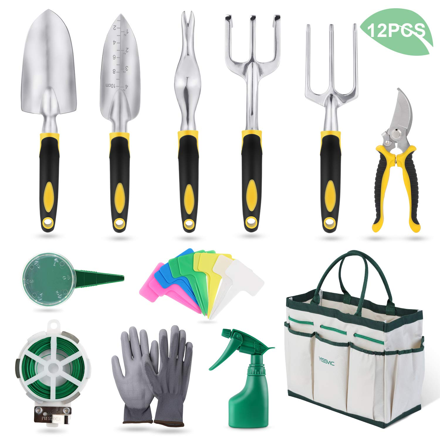YISSVIC Garden Tools Set 12 Piece Heavy Duty Gardenin Kit Cast Aluminum with Soft Rubberized Non-Slip Handle, Durable Storage Tote Bag and Pruning Shears, Gardening Supplies Gifts for Men Women by YISSVIC
