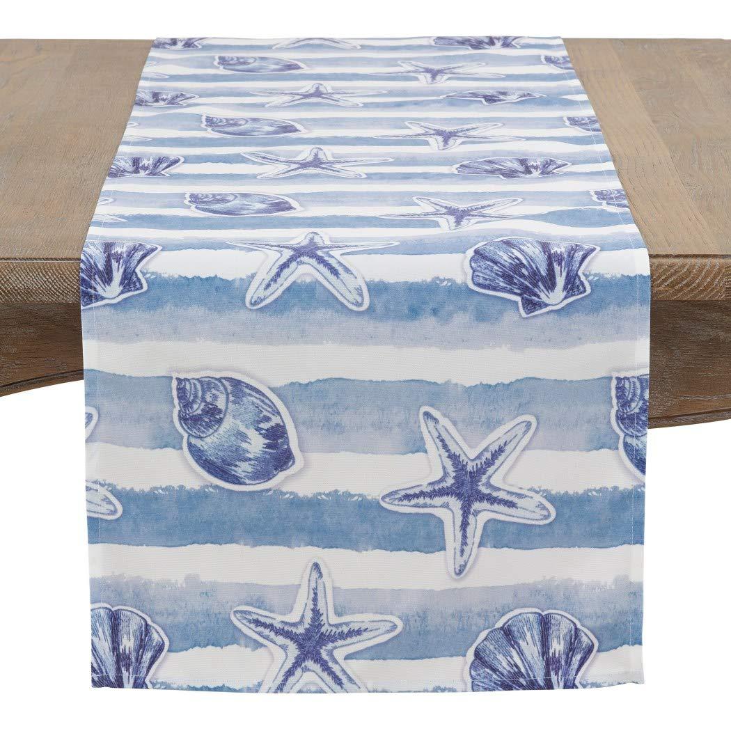 Nautical Table Runner Coastal Living Home Decor Navy Aqua Blue Dining Linens