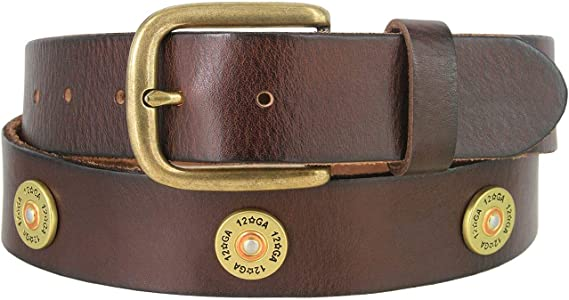 Men's Belt 12 Gauge Shotgun Shell Full Grain Genuine Leather Belt 1-1/2